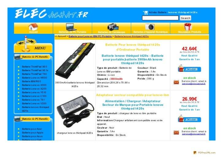 Acheter Batterie : le no vo t hinkpad t 4 20 s                                                                            ...