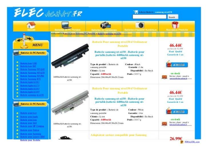 Acheter Batterie : samsung nt-n150                                                                                        ...