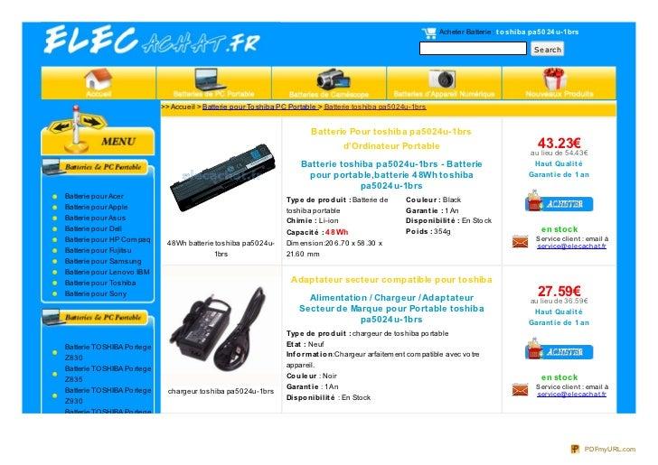 Acheter Batterie : t o shiba pa5 0 24 u-1brs                                                                              ...