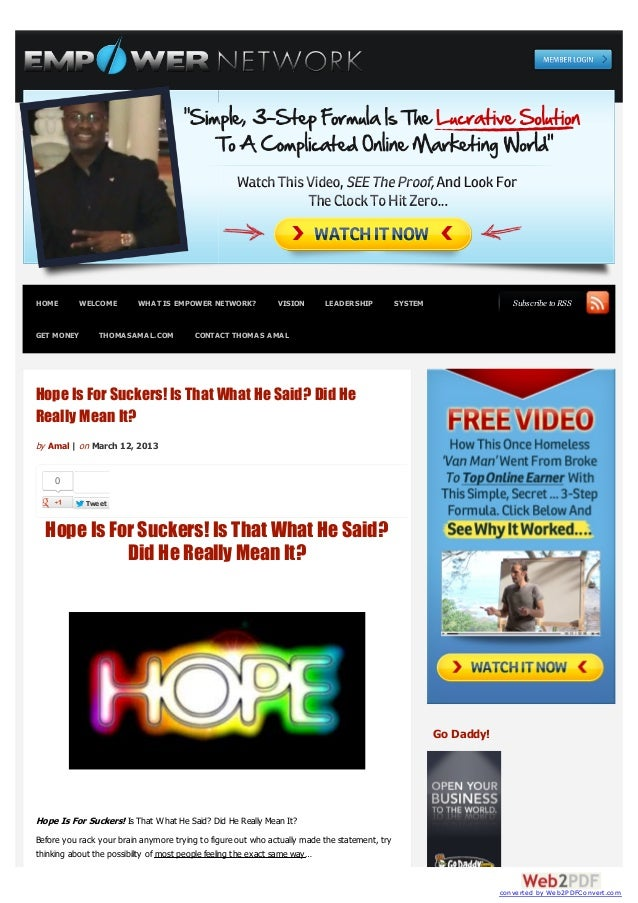 HOME        WELCOME       WHAT IS EMPOWER NETWORK?            VISION      LEADERSHIP           SYSTEM                  Sub...