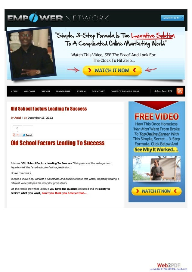 HOME       WELCOME         VISION       LEADERSHIP        SYSTEM        GET MONEY        CONTACT THOMAS AMAL      Subscrib...