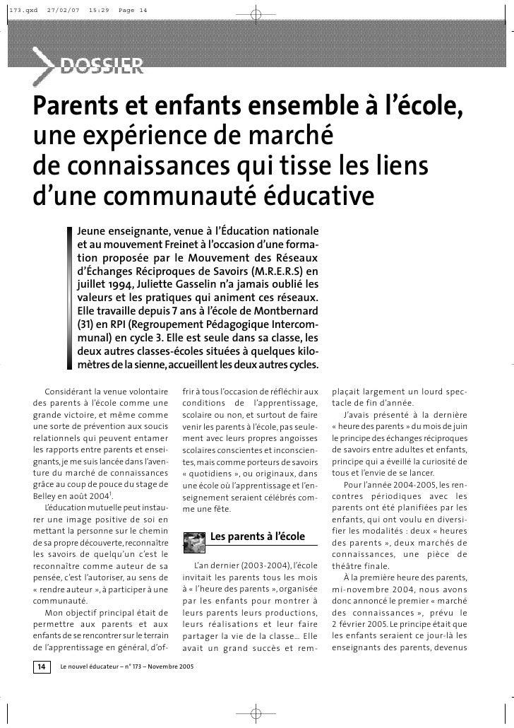173.qxd        27/02/07    15:29     Page 14     Parents et enfants ensemble à l'école,     une expérience de marché     d...