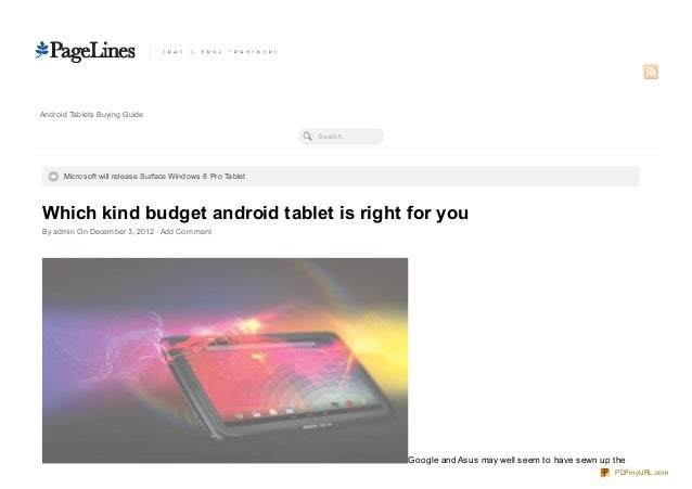 Andro id Tablets Buying Guide                                                               Search      Micro so ft will r...