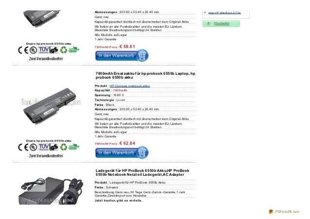 Abmessungen : 203.90 x 53.40 x 20.40 mm                                Akku HP EliteBook 2170p                            ...