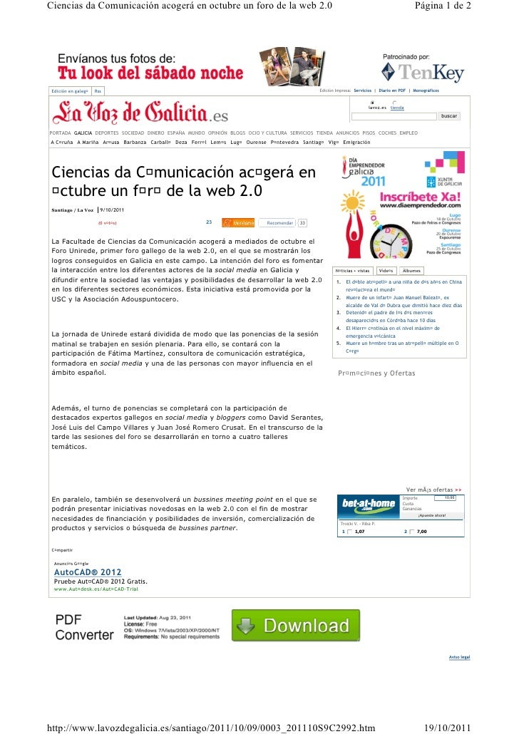 Ciencias da Comunicación acogerá en octubre un foro de la web 2.0                                                         ...