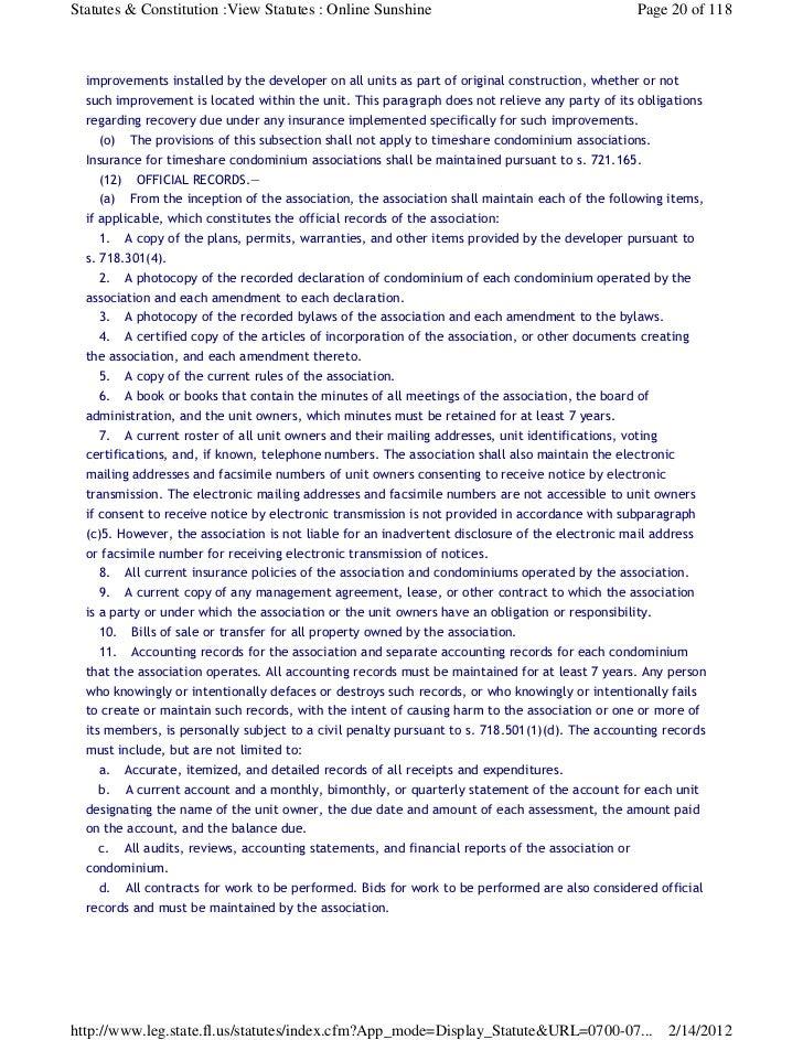Statutes  Florida Statute Chapter 718. Florida Statute Living Will Form. Home Design Ideas