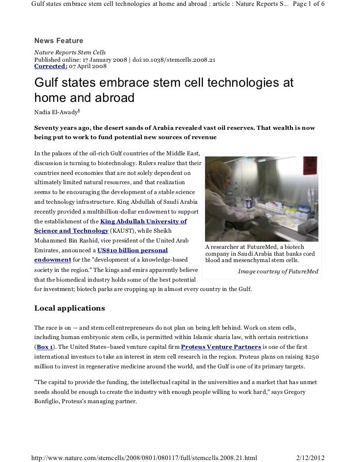 Gulf states embrace stem cell technologies at home and abroad : article : Nature Reports S... Page 1 of 6 News Feature Nat...