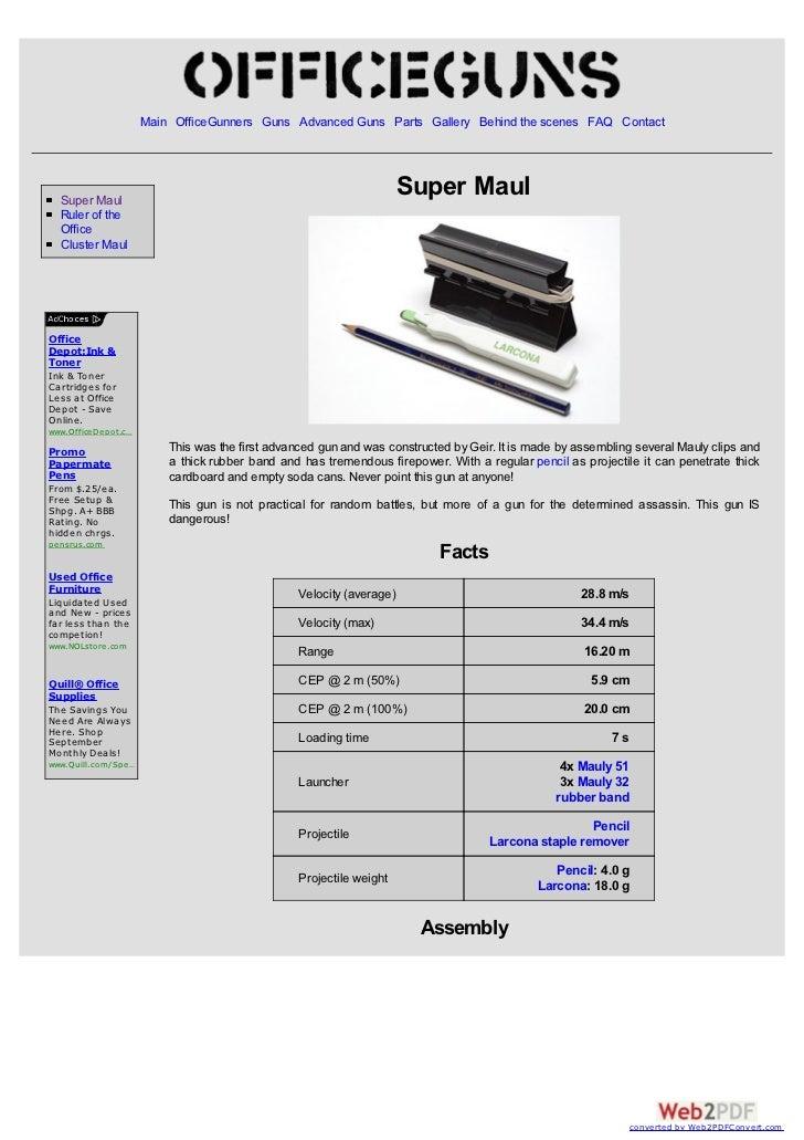 Main OfficeGunners Guns Advanced Guns Parts Gallery Behind the scenes FAQ Contact  Super Maul                             ...