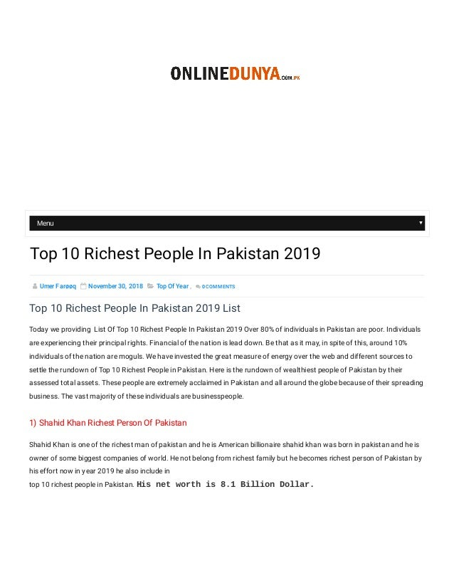 Top 10 Richest People In Pakistan