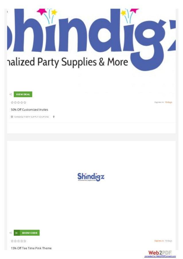 Shindigz coupon codes