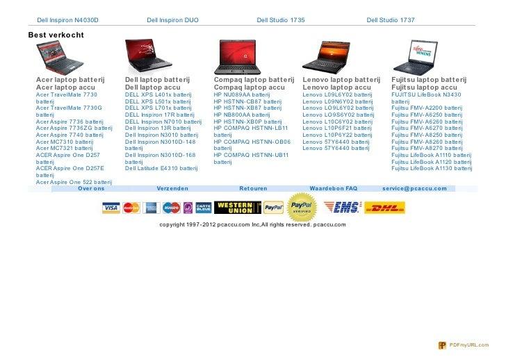 Dell Inspiron N4030D                  Dell Inspiron DUO                     Dell Studio 1735                        Dell S...