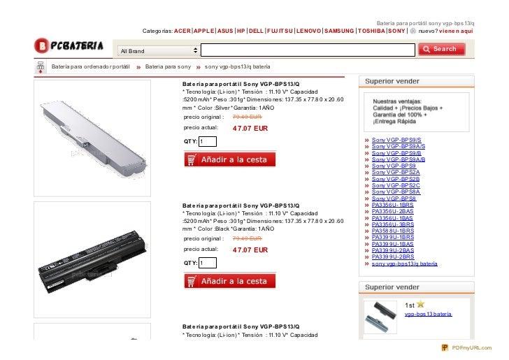 Batería para po rtátil so ny vgp-bps13/q                                      Catego rías: ACER APPLE ASUS HP DELL FUJ IT ...