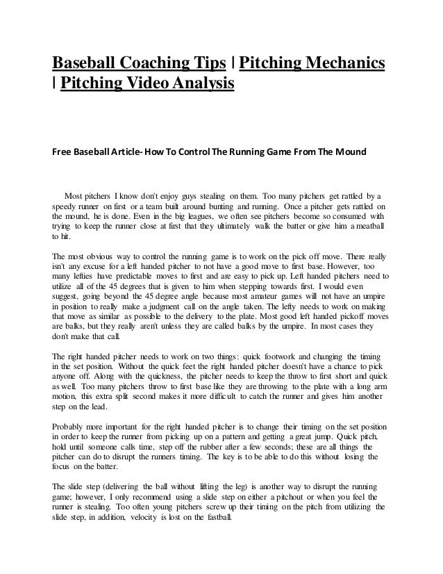 Baseball Coaching Tips | Pitching Mechanics | Pitching Video Analysis Free Baseball Article- HowTo Control The Running Gam...