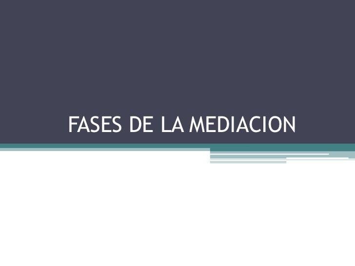 FASES DE LA MEDIACION <br />