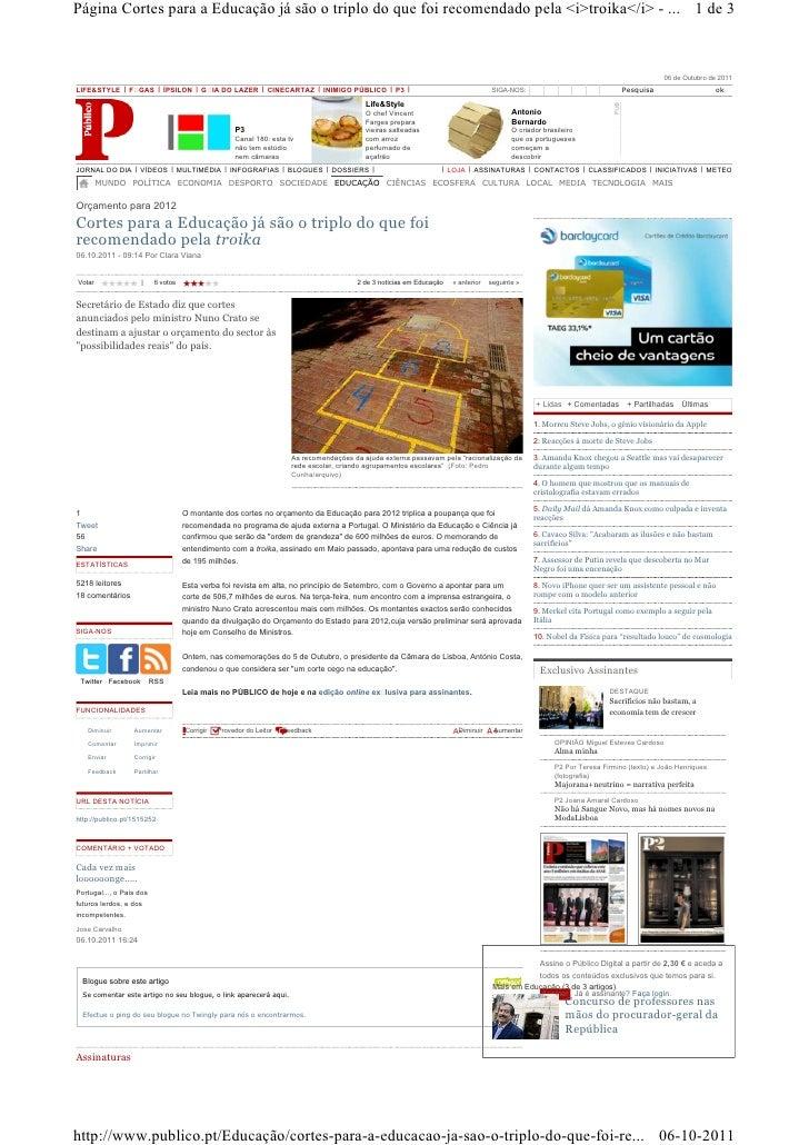 Página Cortes para a Educação já são o triplo do que foi recomendado pela <i>troika</i> - ... 1 de 3                      ...