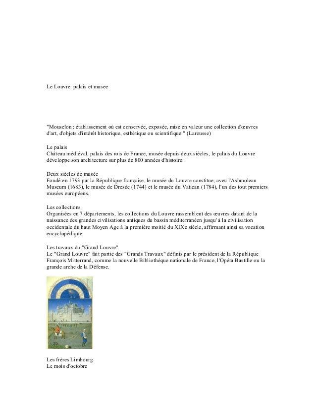 """www.referat.roLe Louvre: palais et musee""""Mouseîon : établissement où est conservée, exposée, mise en valeur une collection..."""