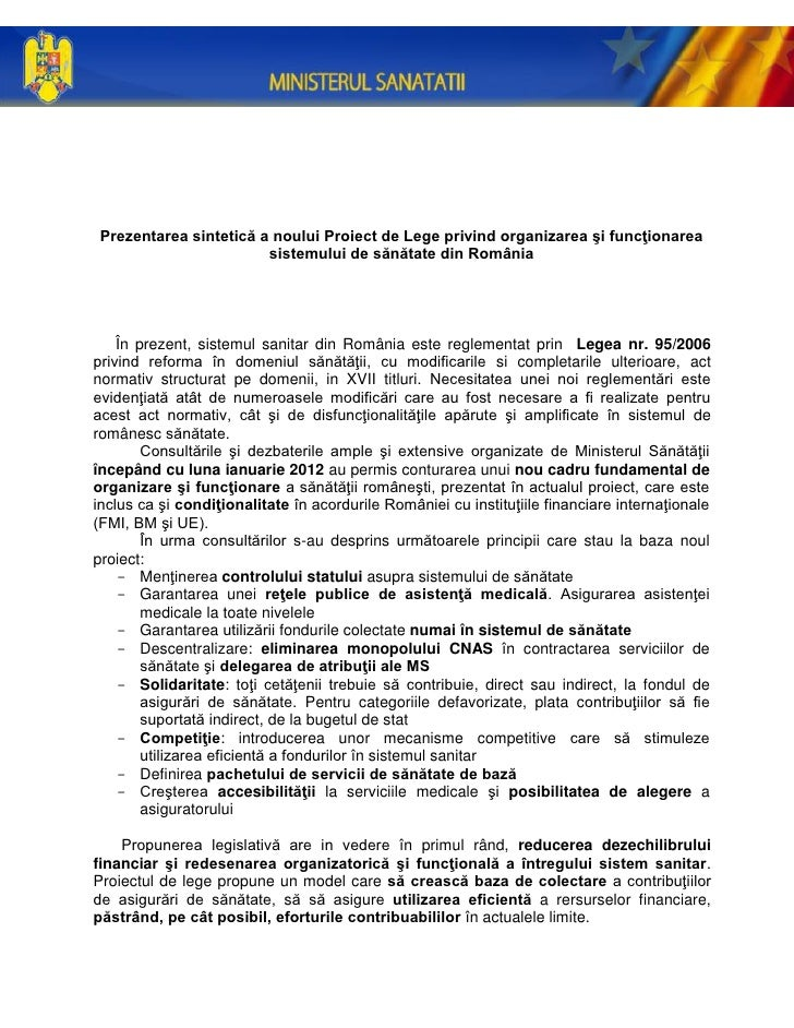 Prezentarea sintetică a noului Proiect de Lege privind organizarea şi funcţionarea                        sistemului de să...