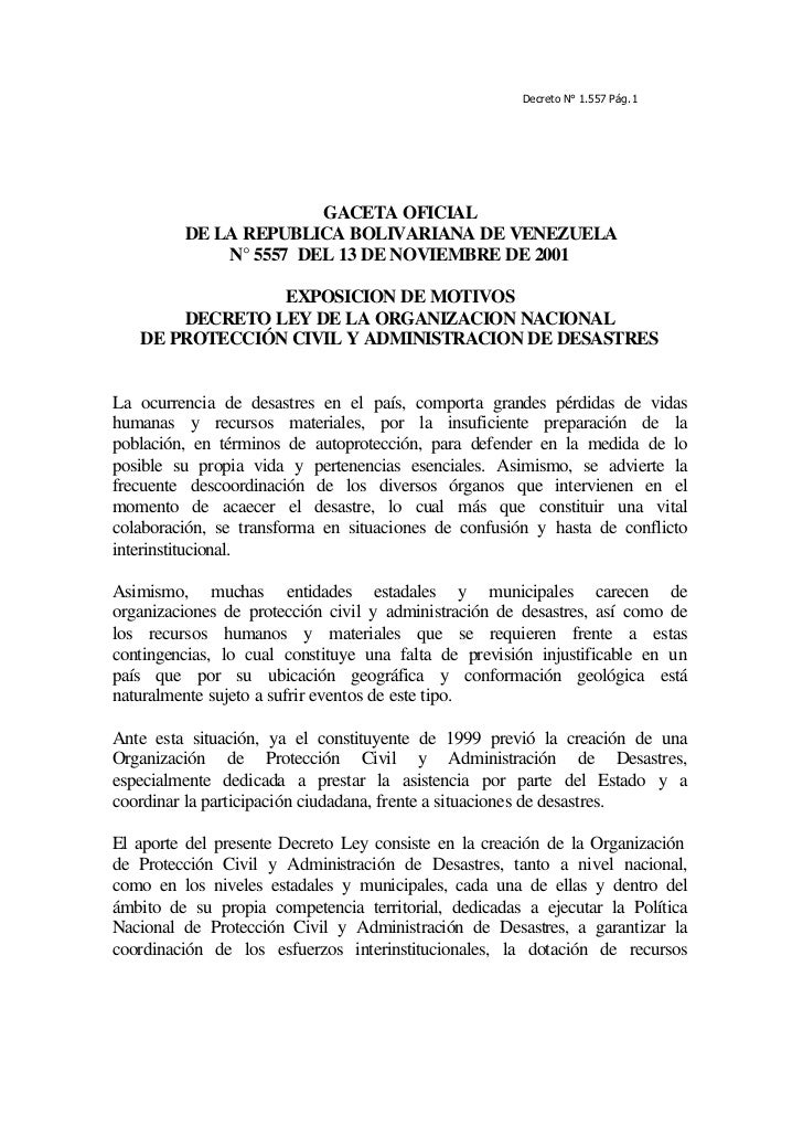 Decreto N° 1.557 Pág. 1                       GACETA OFICIAL         DE LA REPUBLICA BOLIVARIANA DE VENEZUELA             ...