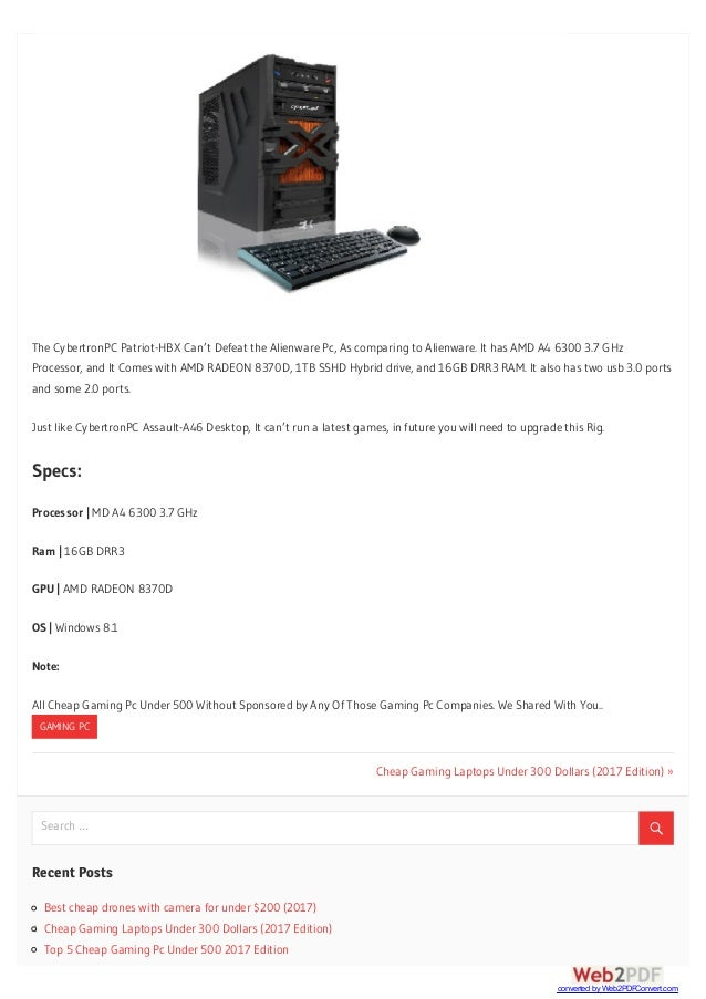 Top 5 Cheap Gaming Pc Under 500 2017 Edition