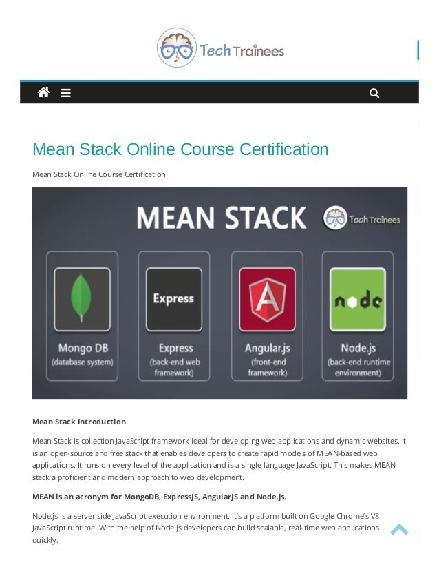 Mean Stack Training In Hyderabad Mean Stack Online Course Certifica