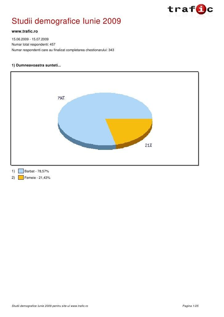 Studii demografice Iunie 2009 www.trafic.ro 15.06.2009 - 15.07.2009 Numar total respondenti: 457 Numar respondenti care au...