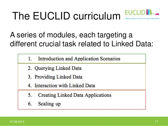 The EUCLID curriculum A series of modules, each targeting a different crucial task related to Linked Data: 07.08.2013 17