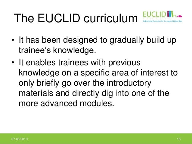 The EUCLID curriculum • It has been designed to gradually build up trainee's knowledge. • It enables trainees with previou...