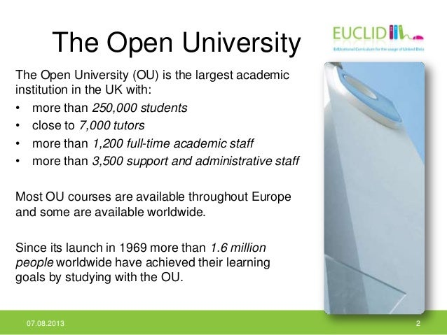 The Open University The Open University (OU) is the largest academic institution in the UK with: • more than 250,000 stude...