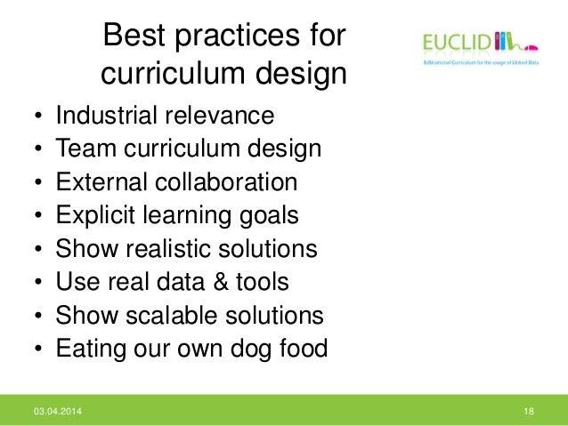 Best practices for curriculum design • Industrial relevance • Team curriculum design • External collaboration • Explicit l...
