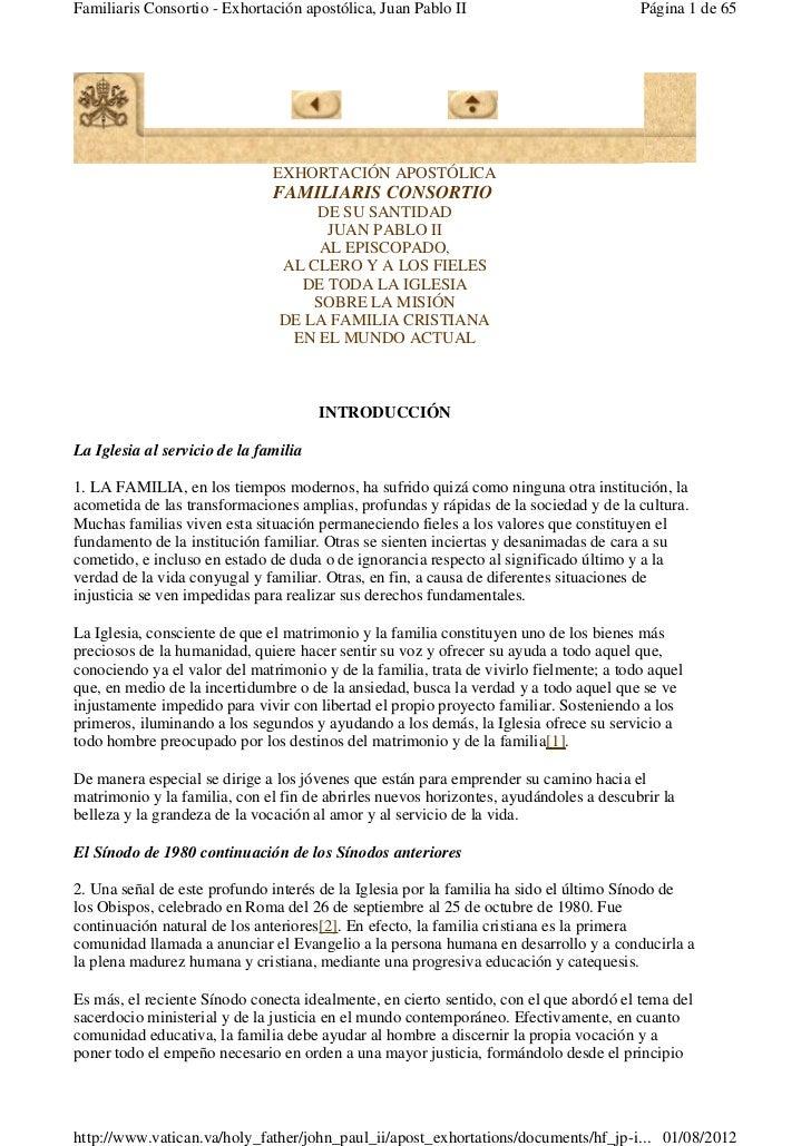 Familiaris Consortio - Exhortación apostólica, Juan Pablo II                            Página 1 de 65                    ...