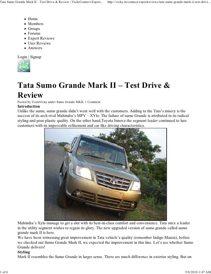 Tata Sumo Grande Mark II – Test Drive & Review   VickyConnect Expert...   http://vicky.in/connect/expertreviews/tata-sumo-...