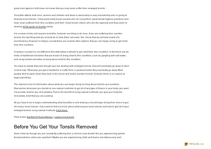 how to get rid of white spots on tonsils