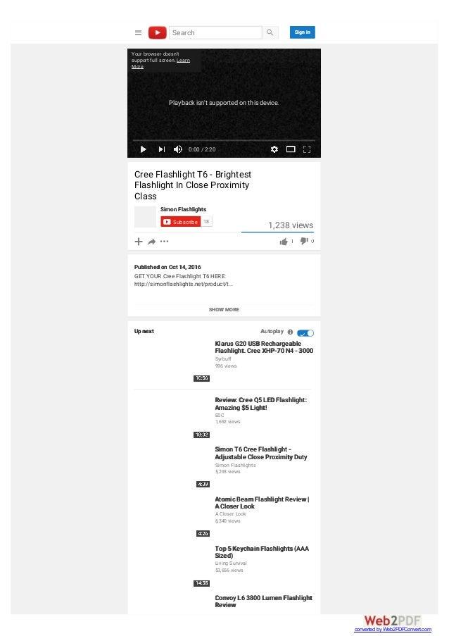 Cree Flashlight T6 - Brightest Flashlight In Close Proximity Class SHOW MORE Simon Flashlights Subscribe 18 1,238 views Pu...