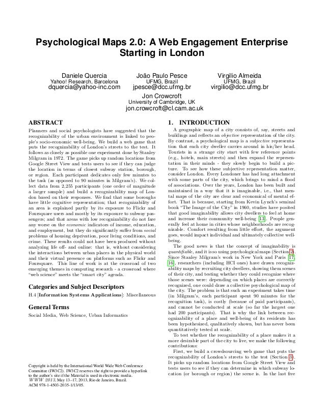 Psychological Maps 2.0: A Web Engagement Enterprise                     Starting in London                  Daniele Querci...