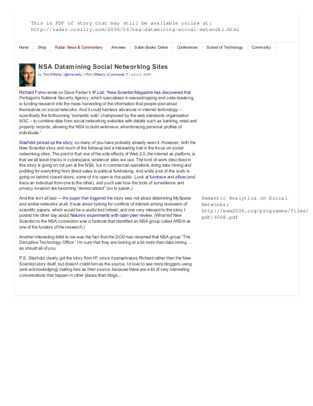 NSA  Datamining  Social  Networking  Sites by  Tim  O'Reilly  |  @timoreilly  |  +Tim  O'Reilly  |  Comments:  7  |  June ...