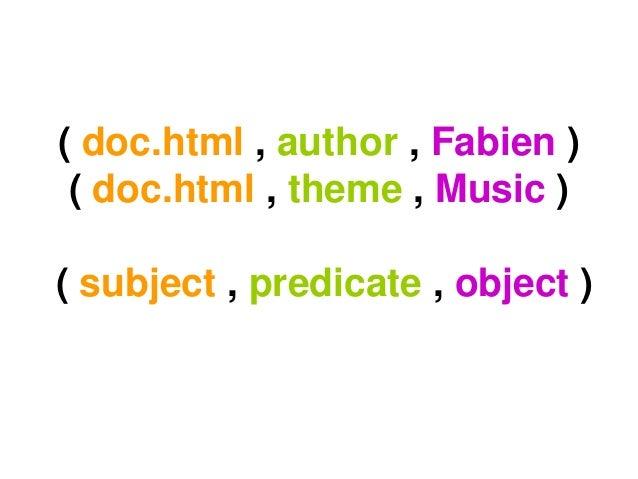 ( doc.html , author , Fabien )( doc.html , theme , Music )( subject , predicate , object )