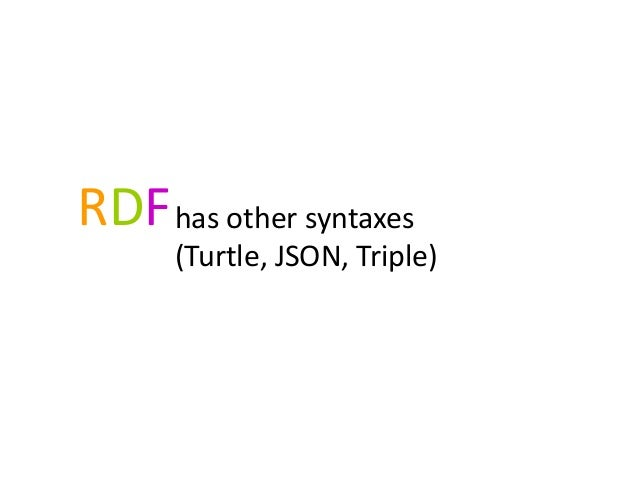 RDFhas other syntaxes(Turtle, JSON, Triple)