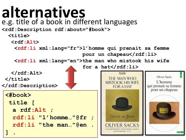 "alternativese.g. title of a book in different languages <rdf:Description rdf:about=""#book""> <title> <rdf:Alt> <rdf:li xml:..."