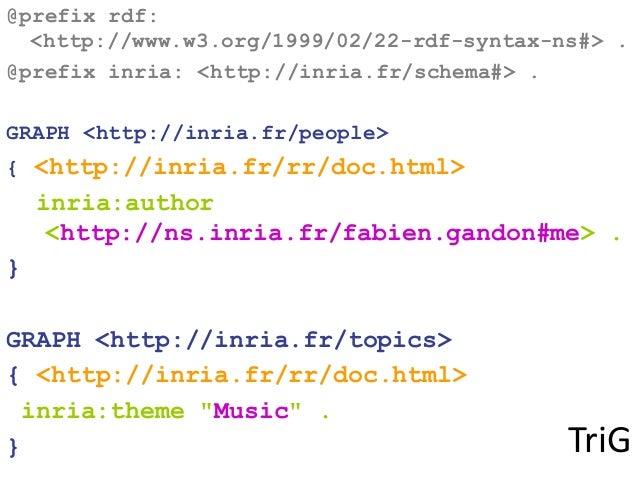 TriG @prefix rdf: <http://www.w3.org/1999/02/22-rdf-syntax-ns#> . @prefix inria: <http://inria.fr/schema#> . GRAPH <http:/...