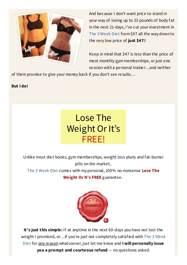 Loss your fat The 3 Week Diet - Doctor trusted! the new ...