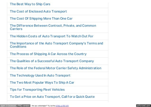 Cost To Ship Car Across Country >> Car Transportation Services Finding The Right Fit