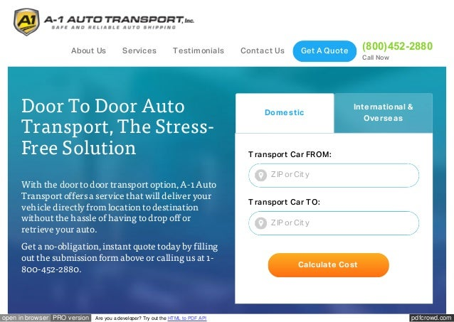 Door To Door Auto Transport And Car Shipping Services By A-1