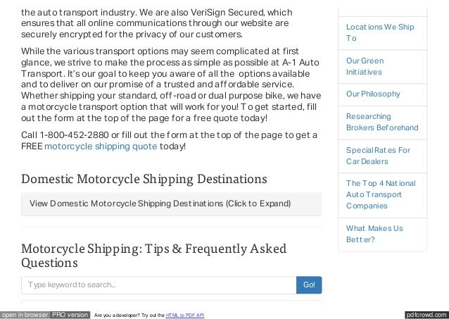 Motorcycle Shipping Quote Best Motorcycle Shipping Services From A1 Auto Transport