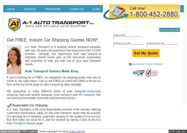 FREE Car Shipping Quotes From A60 Auto Transport Cool Auto Transport Quotes