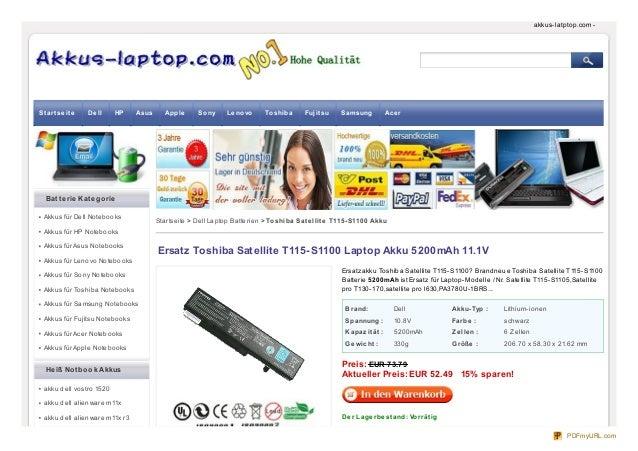 Brand: Dell Akku-Typ : Lithium-ionen Spannung : 10.8V Farbe : schwarz Kapazität : 5200mAh Ze lle n : 6 Zellen Ge wicht : 3...