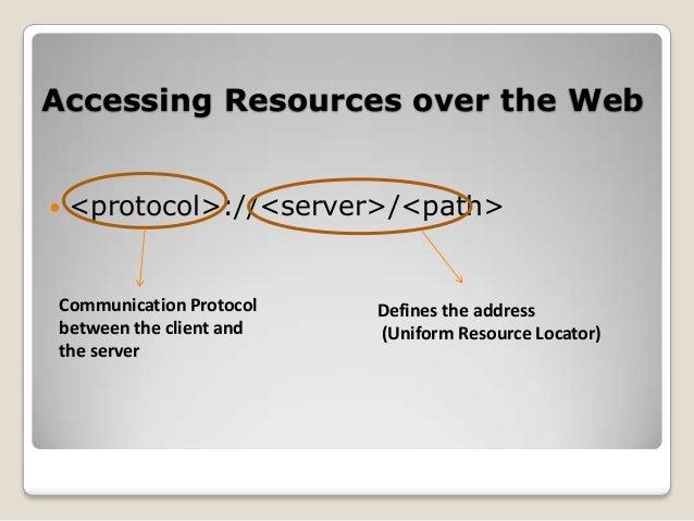 Hypertext Transport Protocol (HTTP) characteristics   Request-response mechanism:    Resource Identification    Statele...