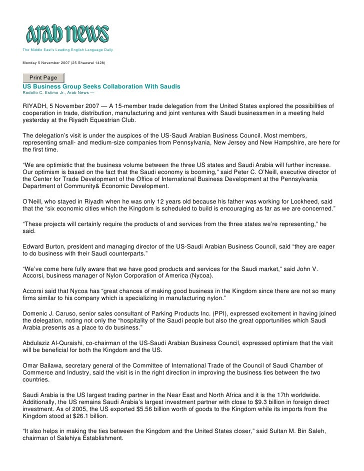 The Middle East's Leading English Language Daily   Monday 5 November 2007 (25 Shawwal 1428)      Print Page US Business Gr...