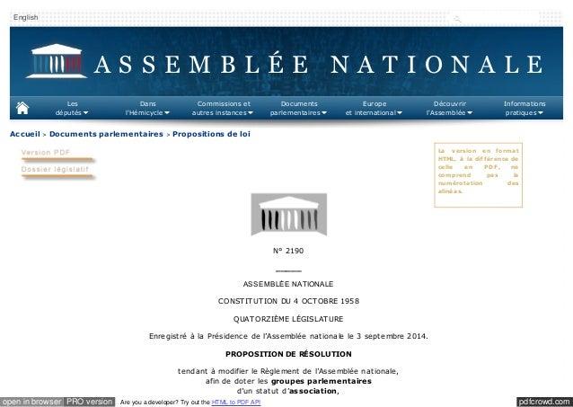 English  A S S E M B L É E N A T I O N A L E  Les  députés  Dans  l'Hémicycle  C ommissions et  autres instances  Accueil ...