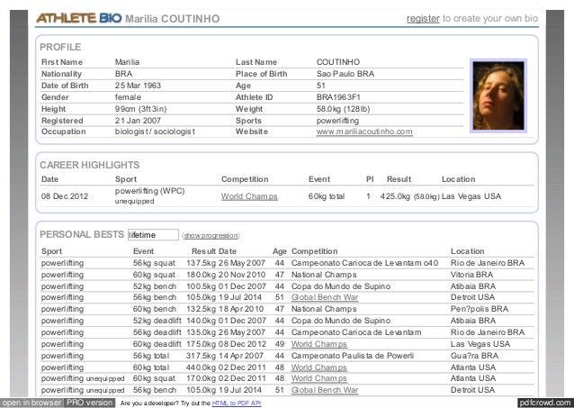 Marilia COUTINHO register to create your own bio  PROFILE  First Name Marilia Last Name COUTINHO  Nationality BRA Place of...