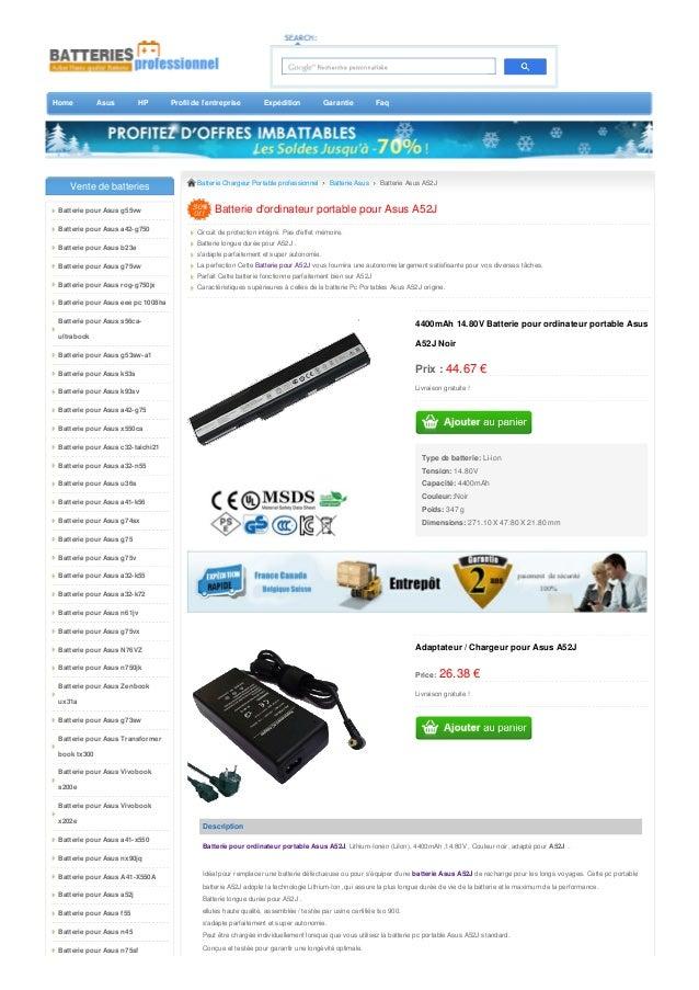 Home Asus HP Profil de l'entreprise Expédition Garantie Faq  Batterie Chargeur Portable professionnel Batterie Asus Batter...